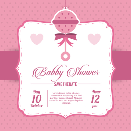 maraca: Baby Shower represented by maraca design, decorated and pink background Illustration