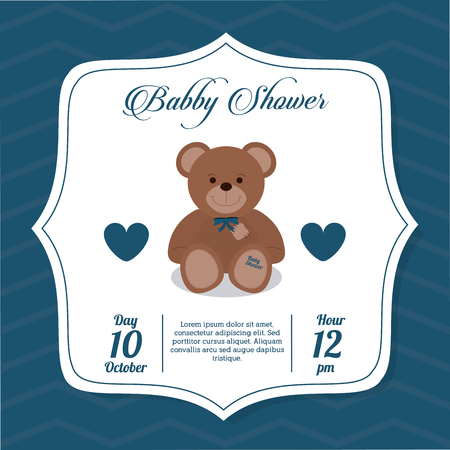 baby bear: Baby Shower represented by teddy bear design, decorated and blue background Illustration