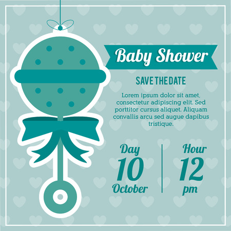maraca: Baby Shower represented by maraca design, decorated and blue background