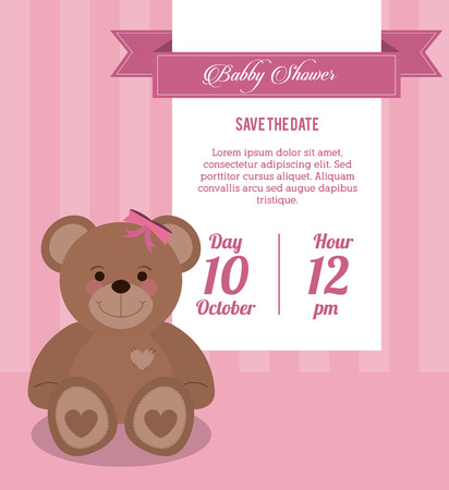 baby bear: Baby Shower represented by teddy bear design, decorated and pink background