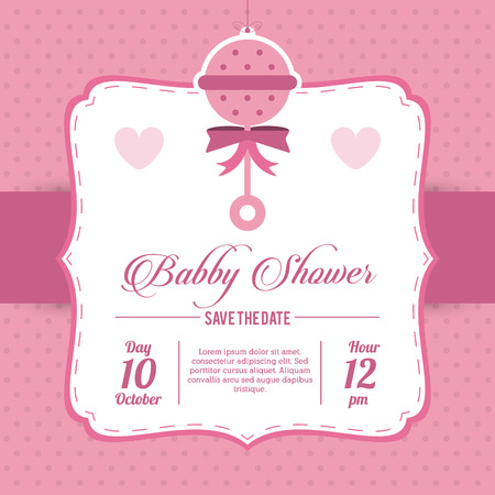 represented: Baby Shower represented by maraca design, decorated and pink background Illustration