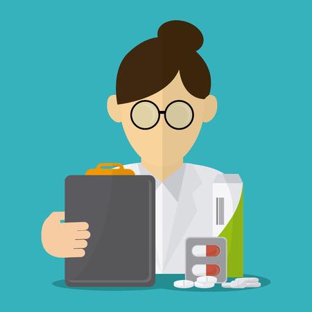 historia clinica: el concepto del cuidado m�dico con el dise�o de iconos de la medicina, la ilustraci�n vectorial 10 EPS gr�fico. Vectores