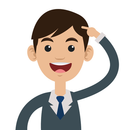 man head: flat desing of man pointing to his head with arm vector illustration