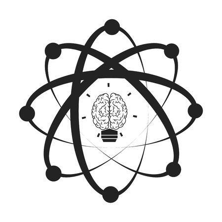 flat design of atom with orbits and brain in its core icon vector illustration Illustration