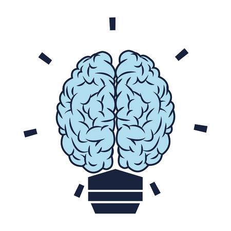 blue brain: flat design blue brain lightbulb icon vector illustration Illustration