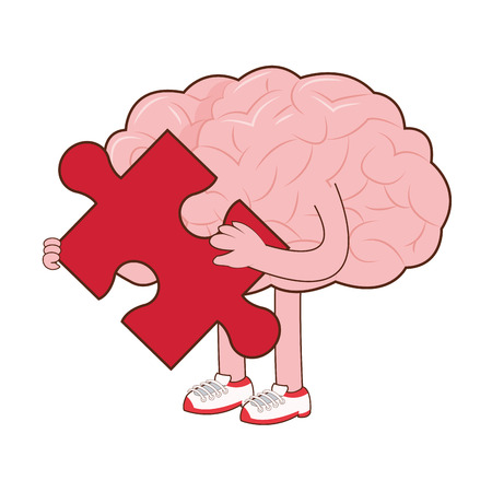 red puzzle piece: flat design of human brain holding red puzzle piece icon vector illustration