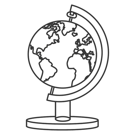distinction: line design of earth map with water and land distinction icon vector illustration