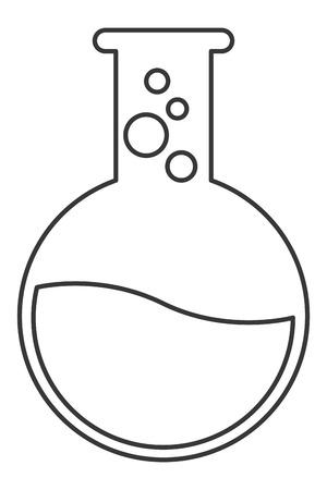 hipotesis: matraz de diseño químico plana con el líquido y las burbujas ilustración vectorial