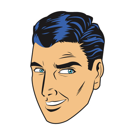 rumor: comic style black hair man smiling with side eye look icon vector illustration