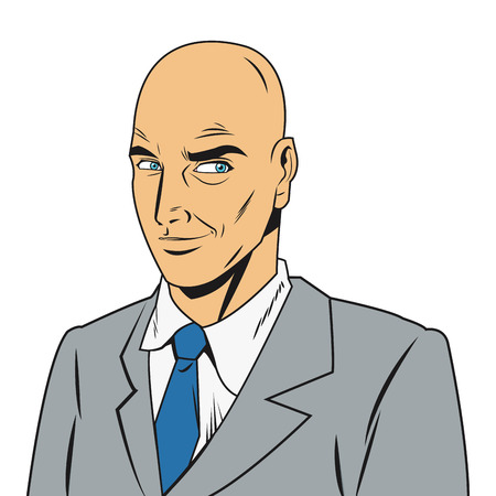 bald man: comic style bald man wearing jacket and tie icon vector illustration