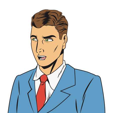 outraged: comic style of outraged man wearing jacket and tie icon vector illustration
