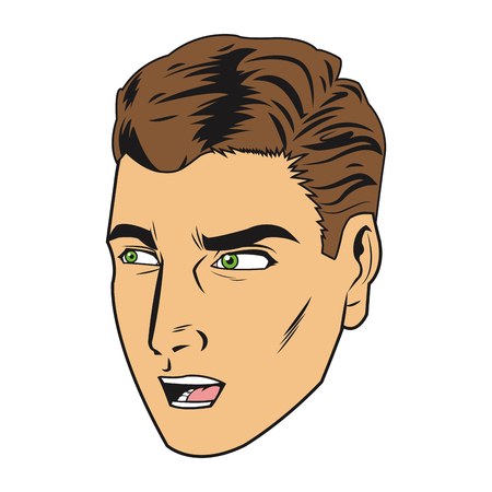positive thought: comic style man icon vector illustration comic
