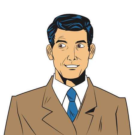 seemingly: comic style seemingly uncomfotable man wearing jacket and tie icon vector illustration