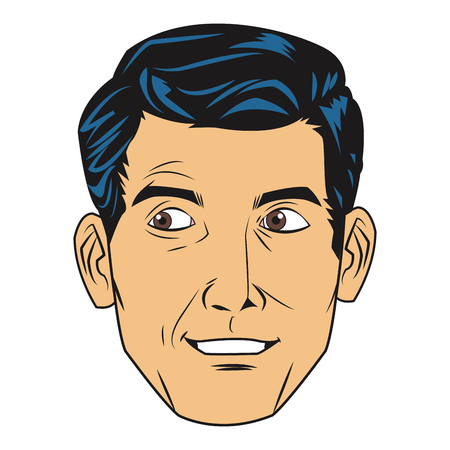 uncomfortable: comic style face of seemingly uncomfortable man icon vector illustration