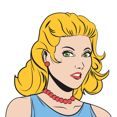 blonde haired: comic style blonde haired woman vector illustration