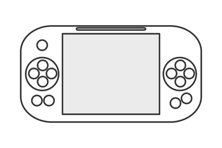 big screen: black line mobile digital gaming device with big screen in the middle and buttons to its sides vector illustration Illustration