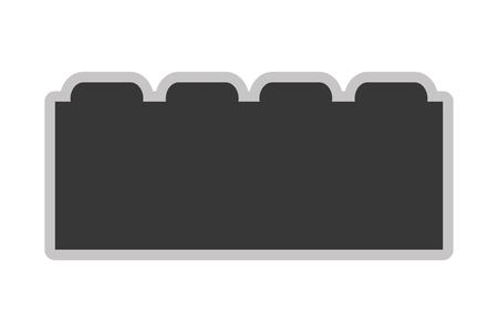 toy block: flat design grey toy construction block vector illustration