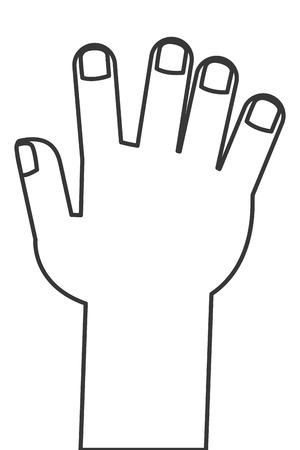 ligne noire illustration vectorielle icône plat style main droite ouverte Vecteurs