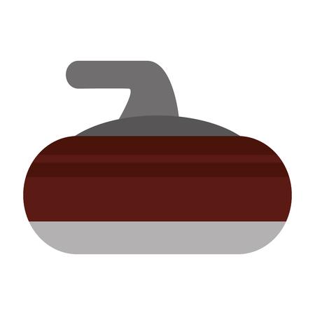 curling: flat design curling stone icon vector illustration