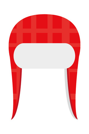 crocheted: red winter knit hat icon vector illustration