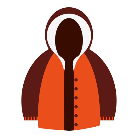winter jacket: flat design orange and brown hooded winter jacket icon vector illustration