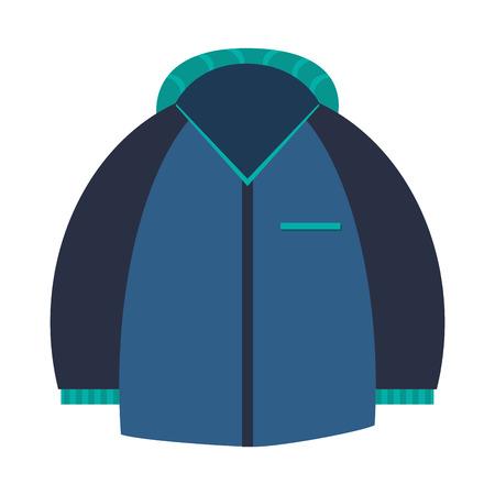 winter jacket: flat design blue winter jacket icon vector illustration