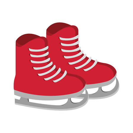 ice skates: flat design red ice skates with laces vector illustration