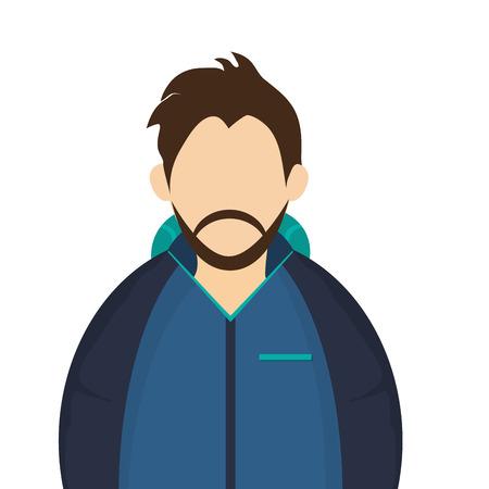 winter jacket: caucasian bearded man wearing blue winter jacket icon vector illustration