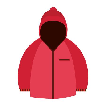 winter jacket: flat design pink hodded winter jacket icon vector illustration