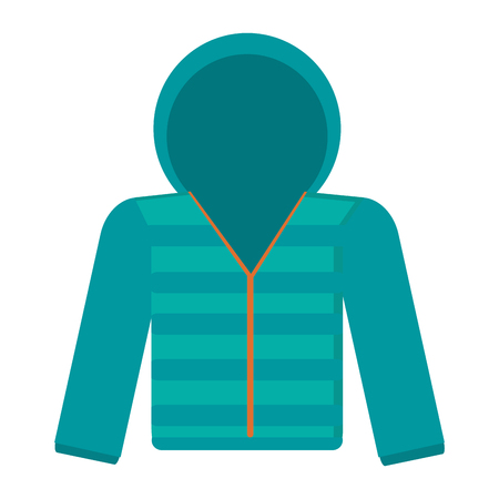 winter jacket: flat design blue hooded winter jacket icon vector illustration