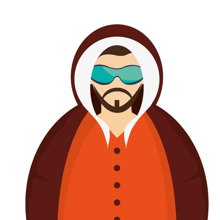 winter jacket: caucasian bearded man wearing orange winter jacket icon vector illustration