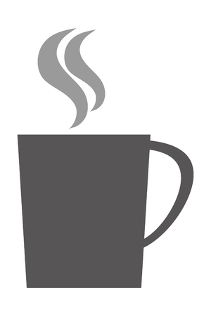 household goods: grey silhouette of cup with handle vector illustration