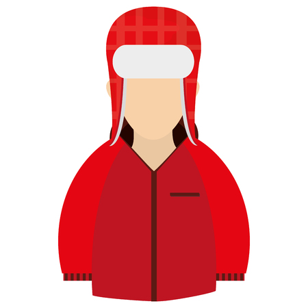 winter jacket: caucasian wearing red winter jacket and hat icon vector illustration