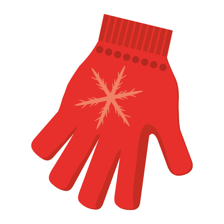 flat design single red winter glove icon vector illustration