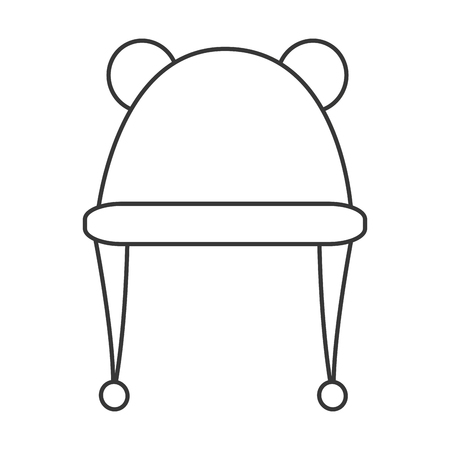 crocheted: black line hat with two round ears on top icon vector illustration