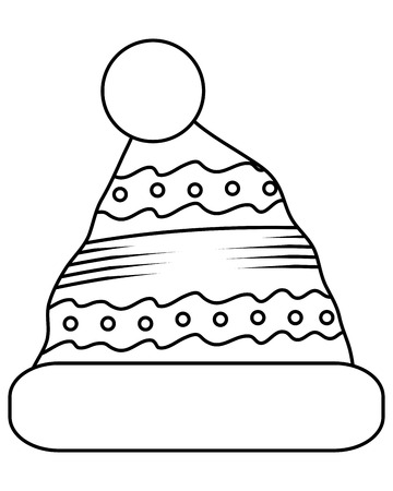 crocheted: black line winter knit hat with pompom on top icon vector illustration