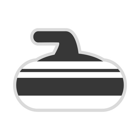 curling stone: flat design grey and white curling stone icon vector illustration
