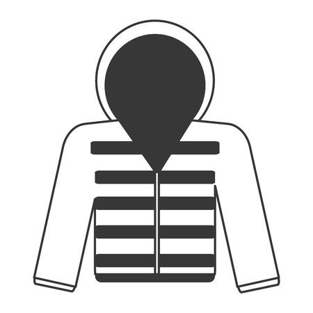 winter jacket: flat design grey line hooded winter jacket icon vector illustration