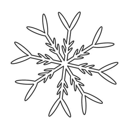 grey line: flat design grey line snowflake icon vector illustration