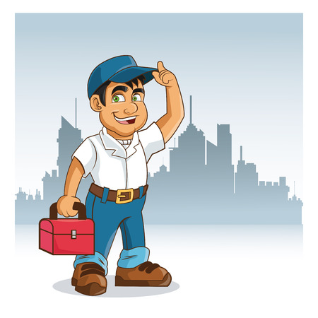 repairman: Plumbing service represented by cartoon man with work cloth over isolated and flat background