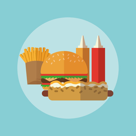 consume: Delicius Food represented by hamburger and hot dog  icon over pastel and flat background