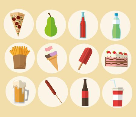 Delicius Alimentos representado por el icono variedad de alimentos en colores pastel y el fondo plano