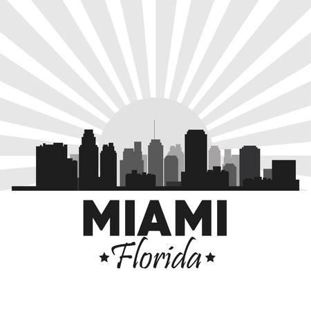 miami florida: Miami Florida concept represented by Silhouette city design. Black and white illustration.