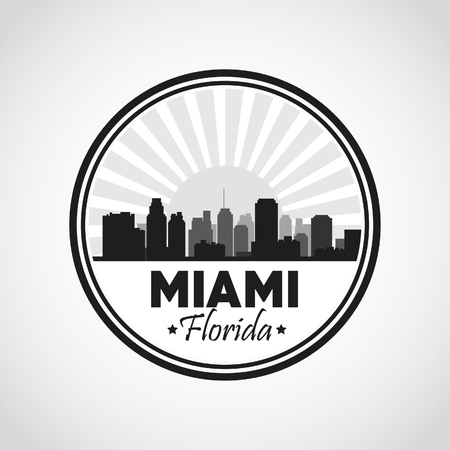 metropolis image: Miami Florida concept represented by Silhouette city design. Black and white illustration.