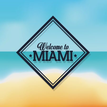 miami florida: Miami Florida concept represented by frame design. beach and summer background Illustration
