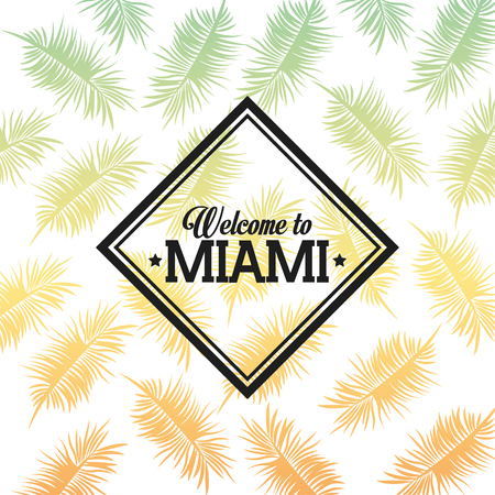 miami florida: Miami Florida concept represented by tropical leaves and frame design. isolated and flat background