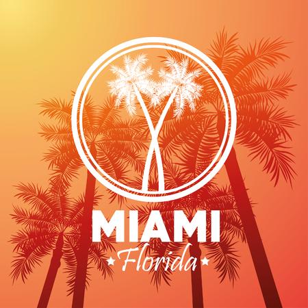 miami florida: Miami Florida concept represented by Palm tree plant design. orange and yellow background Illustration