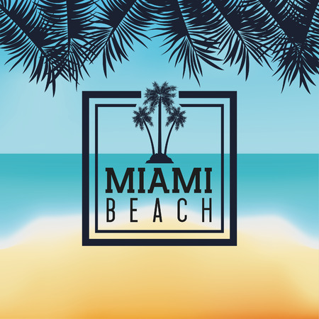 miami florida: Miami Florida concept represented by Palm tree plant design. beach and summer  background Illustration