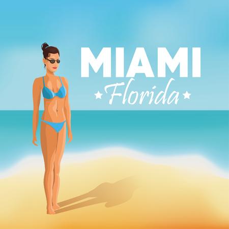miami florida: Miami Florida concept represented by girl on the beach design. beach and summer background