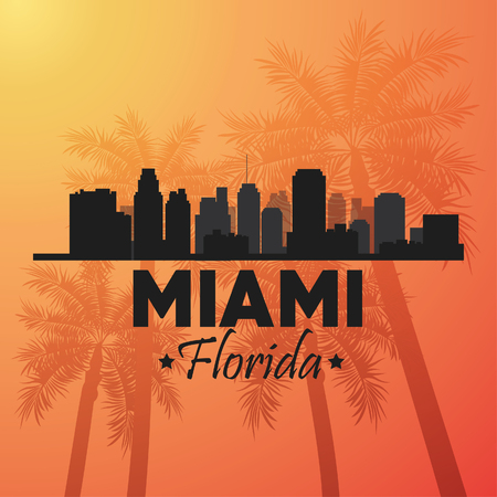 miami florida: Miami Florida concept represented by Silhouette city design. orange and yellow background